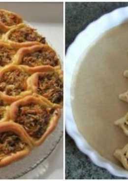 """Пирог """"соты"""" с квашенной капустой и мясным фаршем"""