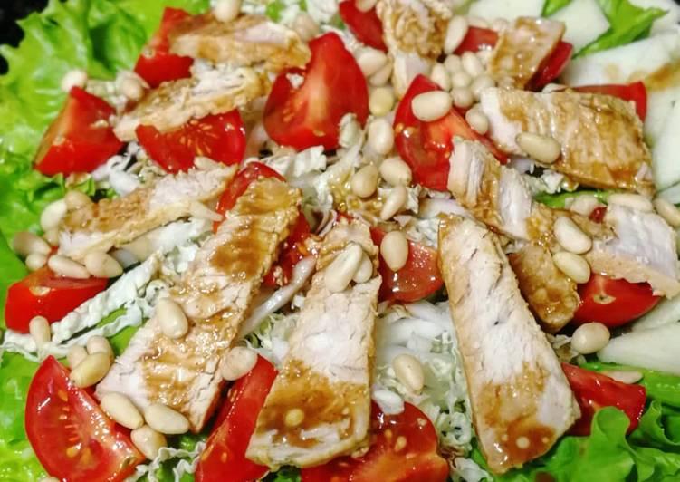 Любимый салат с курицей и кедровыми орешками