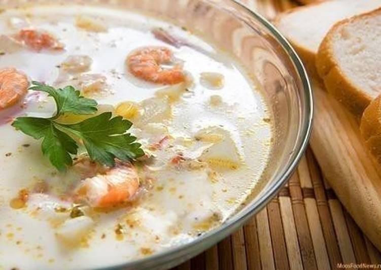 Суп из креветок и плавленного сыра