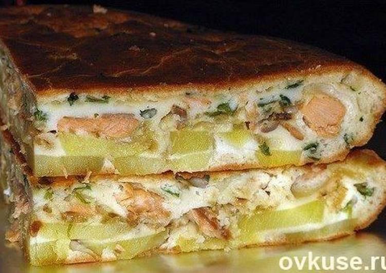 Пирог с семгой и картошкой