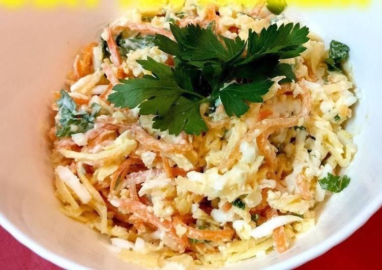 Салат с сыром косичкой и корейской морковью