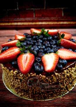 Постный торт с вишневым суфле.