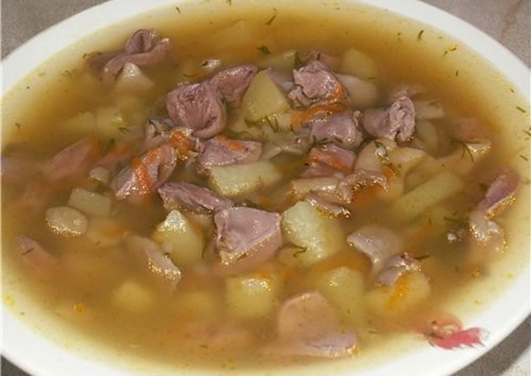 Суп с куриными сердечками в мультиварке