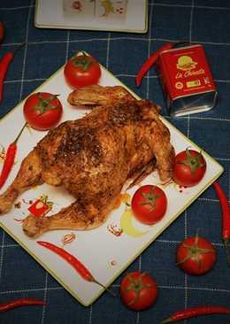 Курица на соленой подушке с острой копченой паприкой