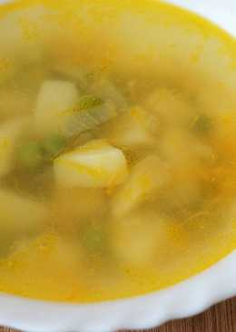 Картофельный суп с зелёным горошком постный