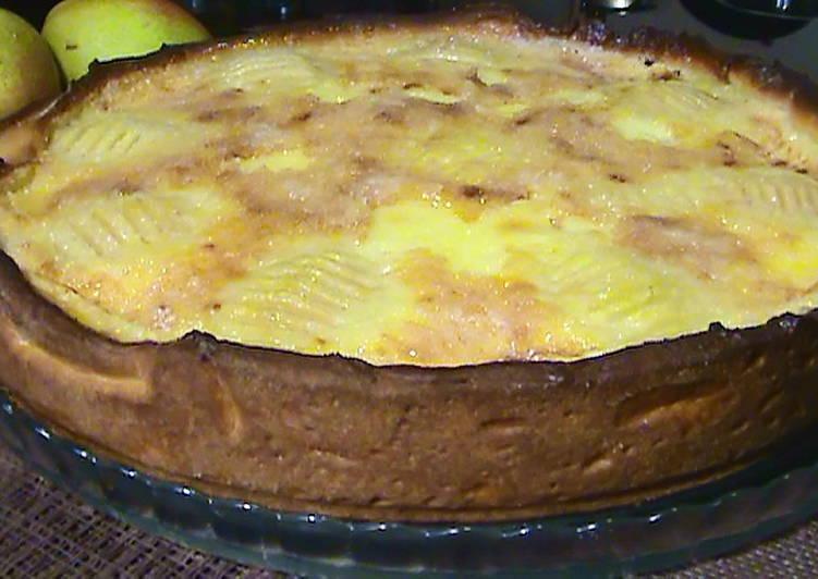 Грушевый пирог со сметанной заливкой