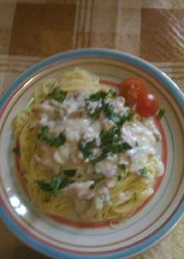 Спагетти с куриными бедрышками и шампиньонами в соусе