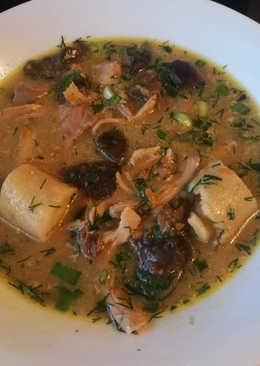 Суп грибной с рулетиками из манки