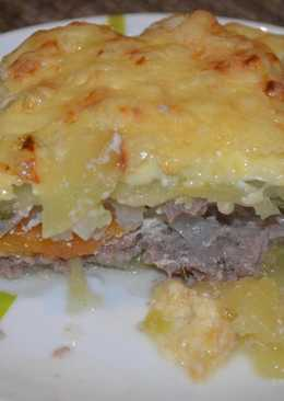 Запеканка из кабачков с фаршем и сыром и помидорами