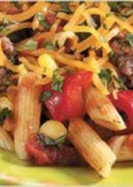 Паста с мясом и овощами