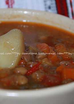 Суп алжирский из зеленой чечевицы с мятой (регион Кабилия)