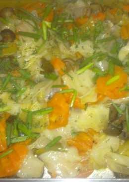 Куриное филе с грибами и овощами