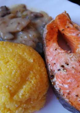 Сёмга со сливочно-грибным соусом