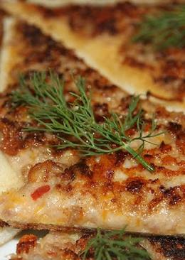 Необычные бутерброды с фаршем на сковороде