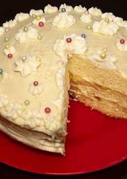 Бисквитный торт с заварным сметанным кремом в мультиварке