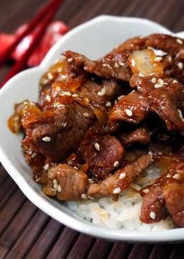 Мясо по-японски - Говядина тушёная с овощами