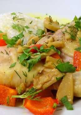 Куриные окорочка с шампиньонами в соусе карри
