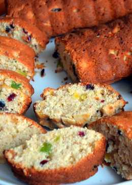 Постный кекс с цукатами и орехами
