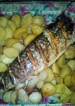 Скумбрия с картофелем в духовке #кулинарныймарафон