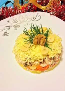 Новогодний салат с индейкой, грибами и грецким орехом