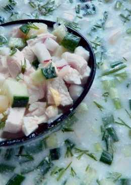 Окрошка на курином бульоне или холодный суп