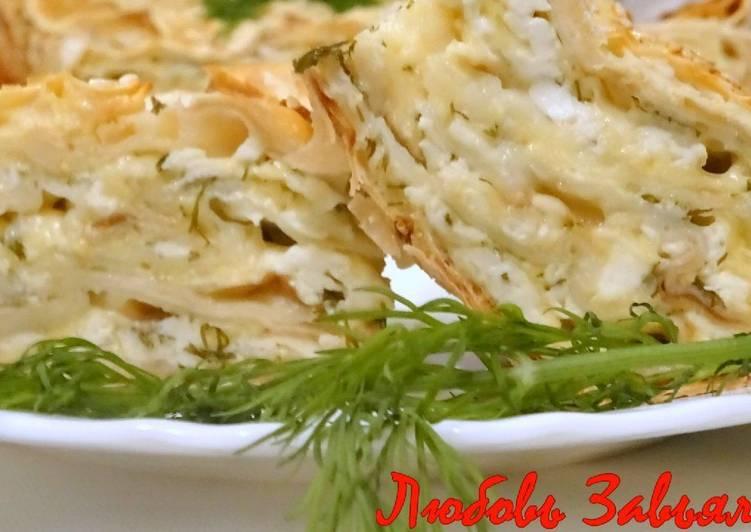 Вкуснейший пирог без хлопот с сыром и зеленью или ленивая ачма