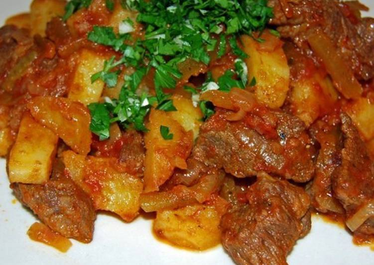 Мясо с овощами по-татарски