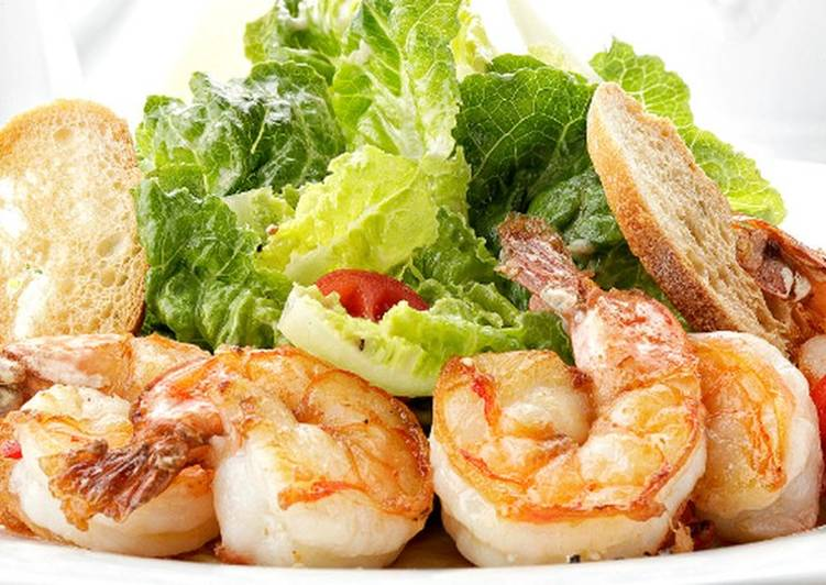 Цезарь салат с криветками рецепт