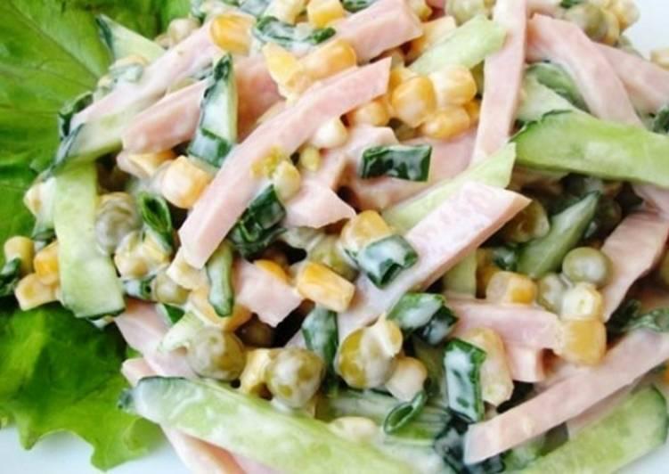 Салат из кукурузы ¤иц и ветчины