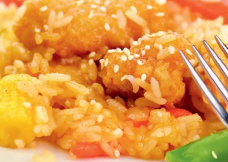 Рис по-японски с мандаринами и печенью