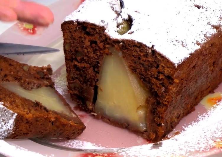 Шоколадный пирог с грушами к чаю