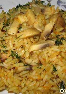 Рецепт постного плова с карри и грибами