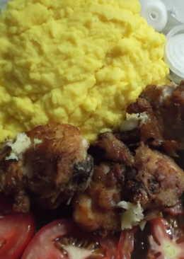 Картофельное пюре на гарнир-с курицей