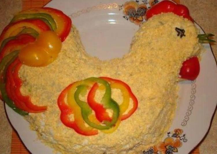 Новогодний салат -Петух