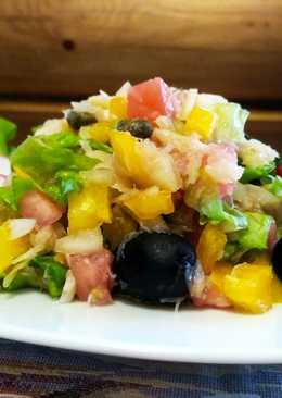 Рыбный салат со свежими овощами