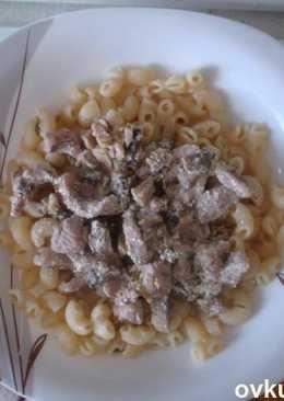 Мясо индейки с грибами в сметане