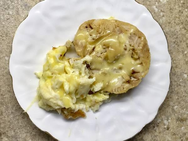 Хек под сыром с омлетом #пп