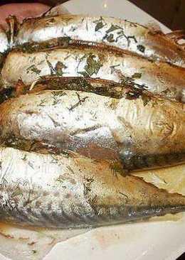 Запекание рыбы в фольге (скумбрия)