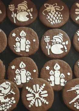 Шоколадное новогоднее печенье