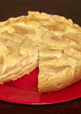 Цветаевский яблочный пирог - шарлотка на песочном тесте с яблоками в сметанной заливке