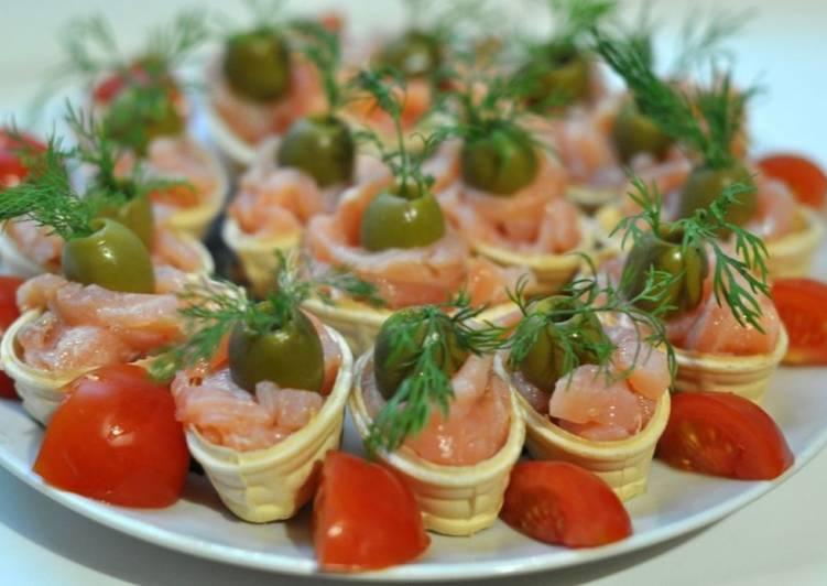 Тарталетки с красной рыбой, рецепт с фото