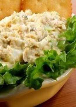 Салат из рыбы с маринованными грибами