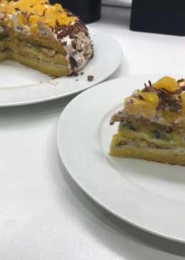 Безумно вкусный лёгкий и свежий бисквитный торт с фруктами
