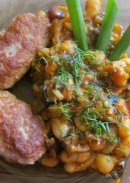 Колбаски чесночные с фасолью