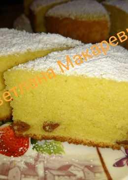 Пышный кекс с изюмом и лимоном в мультиварке