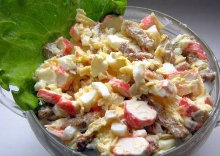 Салат из сухариков и фасоли майонеза и чеснока