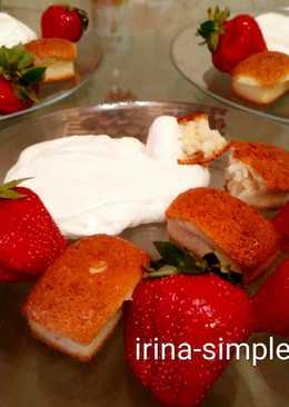 Десерт как чаю: Кокосовые финансье со взбитыми сливками и клубникой #кулинарныймарафоной