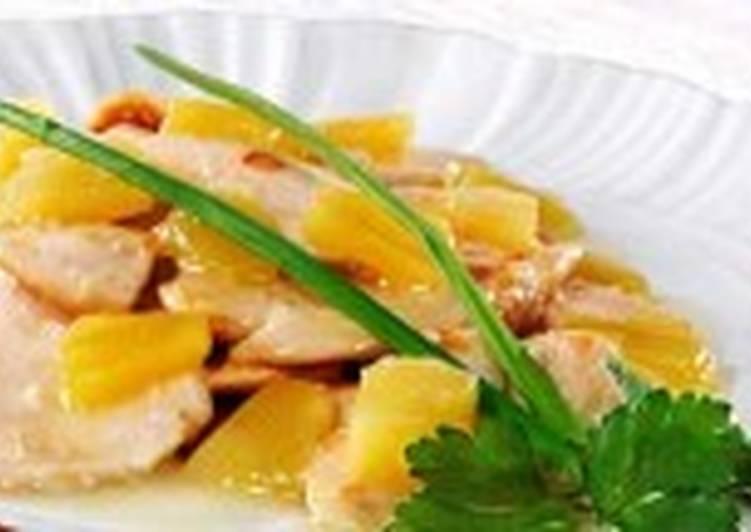 Кусочки цыпленка с ананасом