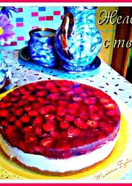 Клубничный Чизкейк без выпечки (Желейный торт с творогом)