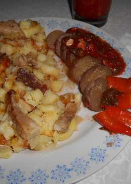 Жаренная картошка с мясом к Новогоднему столу